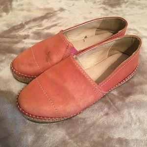 salmon pink LEATHER loafers size 8